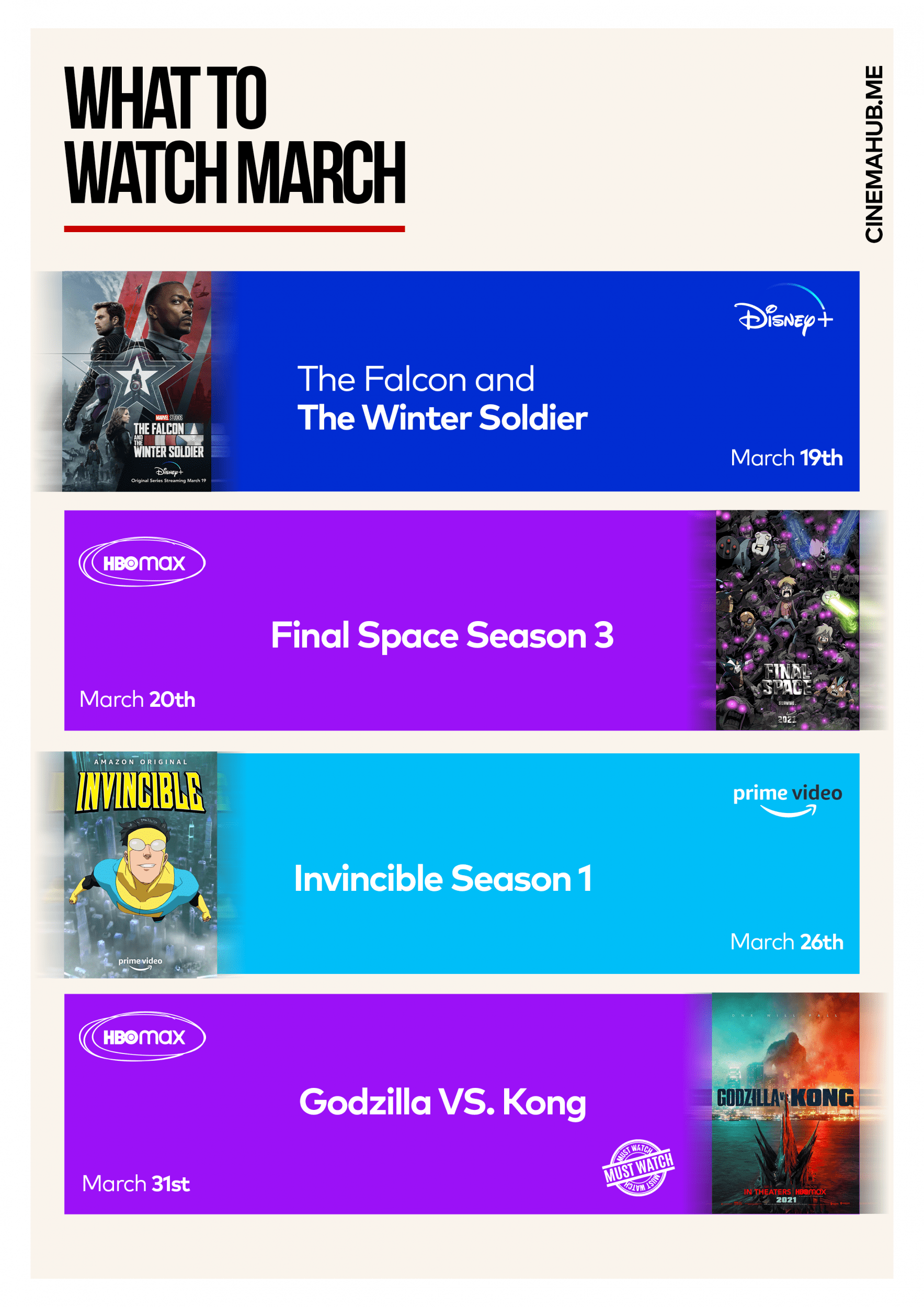 What to Watch 2021: March's Movie Infographic